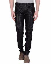 New men`s leather pants black Designer Motorcycle Biker pants trousers - FLP052
