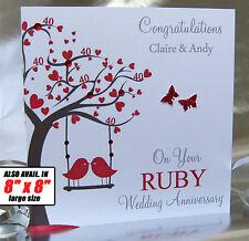 Personalised Wedding Anniversary Card 25th,30th,40th,45th,50th,60th etc Handmade