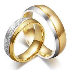 Titanium Steel CZ Couple Ring Men/Women's 18K Gold Plated Wedding Band Size 5-13