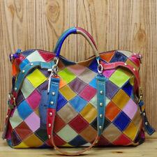 Genuine Cowhide Leather Colorful Blocks Patchwork Handbag Women's Tote Crossbody