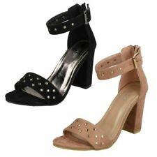 Ladies Spot On Mid Chunky Heel 'Sandals'