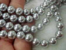 Pretty Gray akoya shell pearl 8mm~12mm round loose beads long 15''