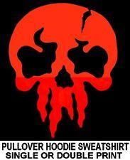 PUNISHER OLD SCHOOL EVIL DANGER GOTHIC GOTH WARNING RED SKULL HOODIE SWEATSHIRT