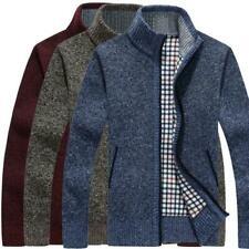 Men's Sweater Winter Warm Thicken Zipper Pullover Sweater Casual Knitwear Coat B