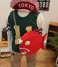 Girls Kids Boys Cute School Shark Fish shape cool messenger travel chain Bag
