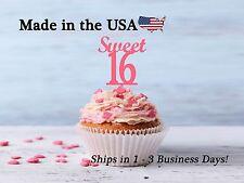 Sweet 16 Cupcake Topper, Sweet 16, Deer Teenage Party, Cake Topper, LCT1008