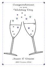 Gay Matrimonio Congratulazioni CARD dello stesso sesso MATRIMONIO CUORI CHAMPAGNE BLU ROSA