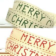 15mm Merry Christmas Festive Printed Twill Tape Craft Ribbon 4 Metre Reel