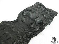 PELGIO Real Genuine Crocodile Hornback Back Strap Skin Leather Hide Pelt Black