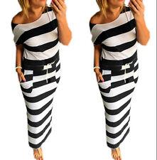 Sommerkleid Damen Lang Striped Sleeveless Strandkleid Beach Kleid 367