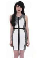 Ladies Sleeveless PVC Cross Polka Dot Contrast Women's Bodycon Dress