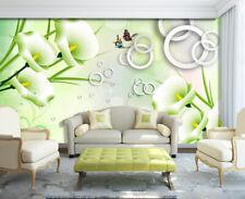 3D White Calla Lily Circle 2223 Wall Paper Wall Print Decal Wall AJ WALLPAPER CA