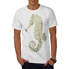 Wellcoda Caballito de Mar Flores Animales Para hombres Camiseta, 0 Camiseta Impresa Diseño Gráfico