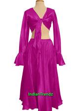 Violet Red Satin Belly Dance Skirt + Top Set Tie Ruffle Dress Tribal Full Circle