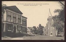 POSTCARD Marlboro, MA High Scool & Church 1920's