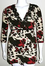 Beautiful! Floral Crochet Trim Vneck Babydoll Tunic Sweater - Plus 14W 16W 18W