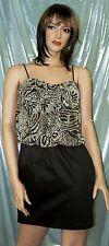 Trixxi Women Brown Spandex Blend Skirt w/Sheer Print Top Mini Dress MSRP$59.00