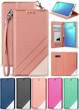 Folio Wallet Case ID Slot Cover Stand + Wrist Strap for Samsung Galaxy S10e