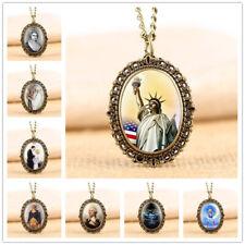 Vintage Bronze Oval Design Women's Analog Quartz Pocket Watch Necklace Chain