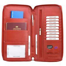 ✅ RFID Travel Wallet UK Passport Holder Ticket Organiser Document Real Leather