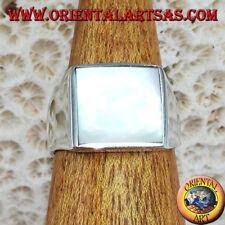 Anello in argento 925 ‰  semplice con madreperla quadrata