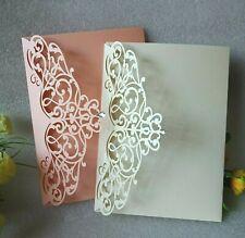 Laser Cut Wedding Invitations Card Envelope Pocket fold Invites Ivory, Peach LPO