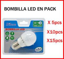 BOMBILLA LED 3W CASQUILLO GRANDE E27 LUZ BLANCA 6400K PACK DE AHOORO DESDE 5 UDS