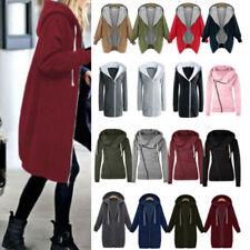 Womens Long Coat Hoodie Jacket Zip Up Sweatshirt Tops Warm Overcoat Plus Size