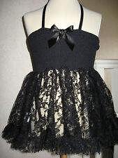 Girls CUTE  NEW Black  floral lace Smock halterneck top