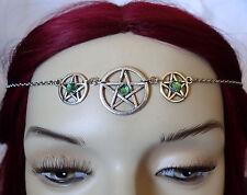 WICCAN Pagan Goddess Pentacle PRIESTESS Ritual Circlet Crown Silver Headpiece