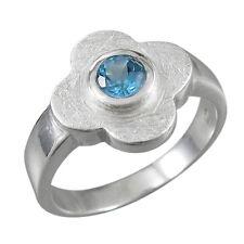 Schmuck-Michel Ring Silber 925 Blume Blautopas 0,6 ct - Gr. 50-65 wählbar (1451)