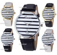 New Stripe Dial Anchor Leather Strap Analog Quartz Ladies Fashion Wrist Watch