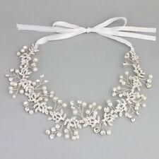 Pearl Wedding Dress Accessories Diamante Bridal Headpiece Crystal Hair Vine Halo