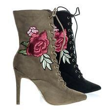 2144f9bcefc Akira147A Women Corset Combat Boot w Rose Metallic Embroidered Stitch High  Heel
