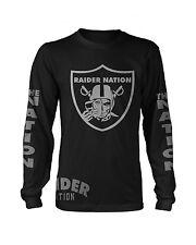 Raiders Raider Nation Silver & Black Long Sleeve T-Shirt (New) Oakland Edition