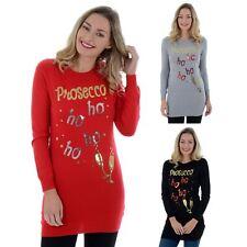 Ladies Womens Novelty Sequins Prosecco HO HO HO Xmas Long Tunic Christmas Jumper
