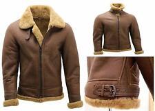 Men's Brown B3 Shearling Sheepskin WW 2 Bomber Leather Flying Aviator Jacket