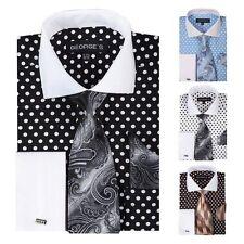 Fortino Landi Men's Cotton Polka Dot Dress Shirt w/ Tie & Hanky Set #613