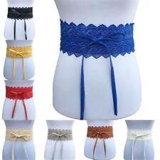 New Women Stretch Buckle Waist Belt Bow Lace Elastic Tie Wide Corset Waistband