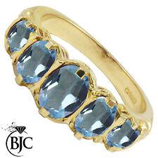 BJC 9ct ORO GIALLO VITTORIANO/Gitano stile LAUREA TOPAZIO BLU 5 PIETRA anello