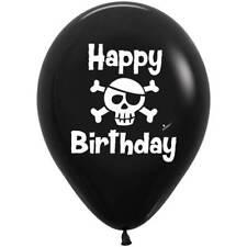 "Happy Birthday Pirate Latex Balloons, Birthday Party Decor Skull Crossbones  11"""