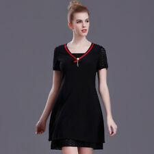 85f6372b3651 Elegante vestito abito corto nero rosso estivo scampanato comodo 4311