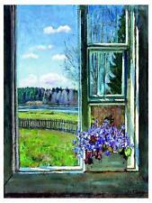 View from Window Flowers Violets Meadow Tile Mural Kitchen Backsplash Ceramic