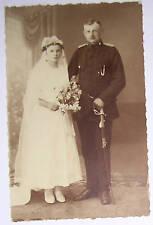 RPPC Wedding Couple, Military Groom with SWORD, Bride