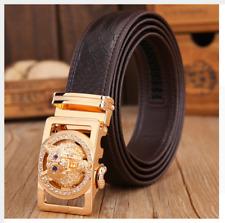 Luxury cuero cinturón señores cuero genuino automático Wolf hebilla elegante Belt/marrón