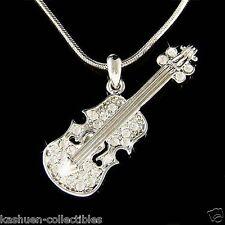 w Swarovski Crystal Violin Viola Cello Fiddle Musical Charm Pendant Necklace New