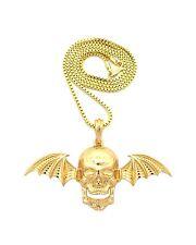 "Pendant 24"" Box Chain Necklace Xsp473Bx Hip Hop Avenged Sevenfold Skull Wing"