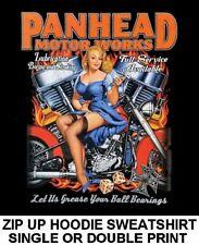 PANHEAD MOTOR WORKS ENGINE PIN UP GIRL MOTORCYCLE BIKER ZIP HOODIE SWEATSHIRT