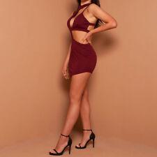 Women's Sexy Cut Out Sleeveless High Waist Bodycon Mini Club Dress 8C