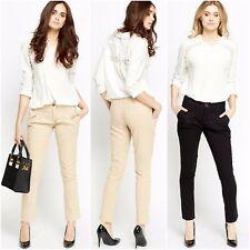 "Womens Beige Black Winter Pleated Chino Trousers Pants 29"" inside Pocket 10 12"